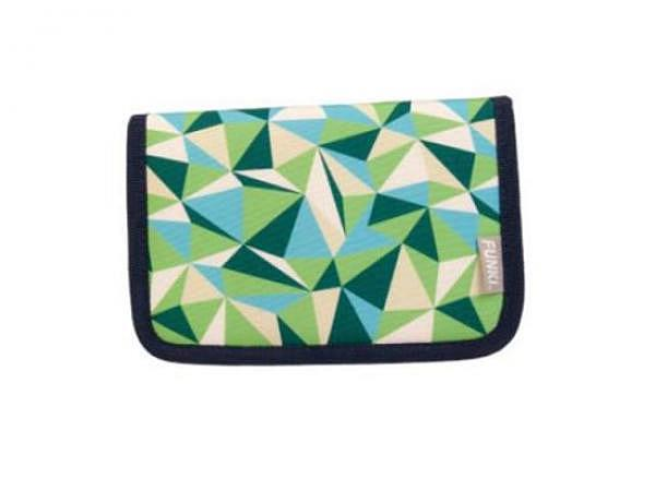 Schüleretui Funki Green-Blue Triangle mit 2 Klappen