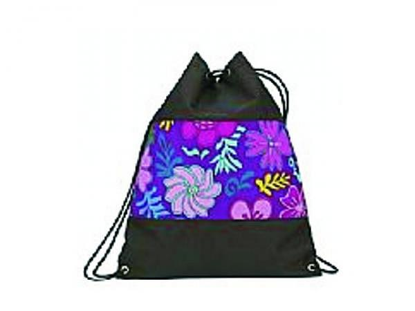 Sportbeutel Funke Blumen violett, schwarz Kordel mit Stopper