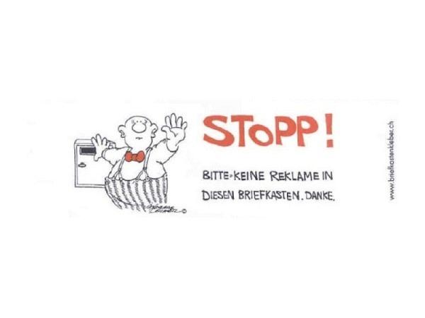 Aufkleber Stopp! Bitte keine Werbung in diesen Briefkasten
