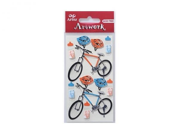 Aufkleber Artoz Artwork Fahrräder rot-blau