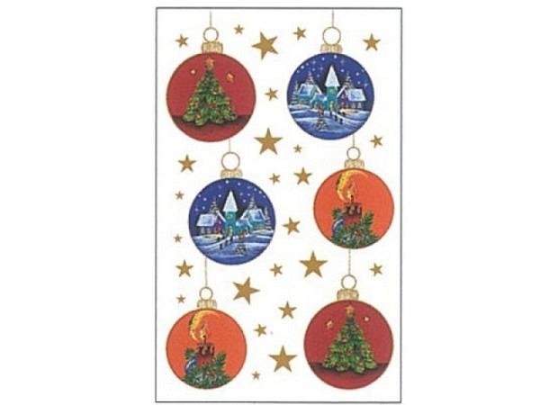 Aufkleber bsb Deco Sticker Kugeln mir Weihnachtsmotiv