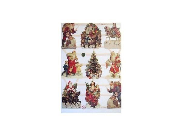 Aufkleber Glanzbilder Weihnachtsmann, mit Pferd