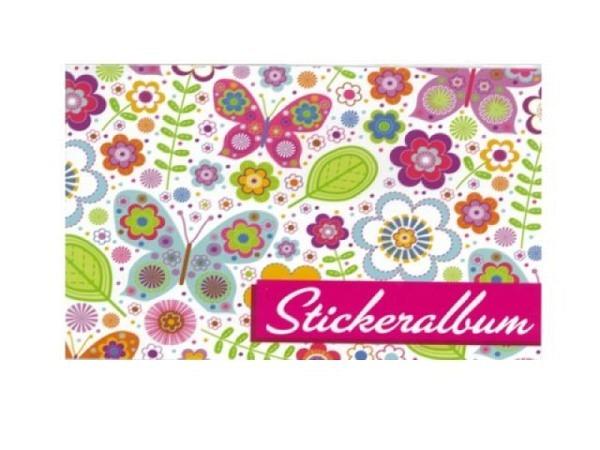 Stickeralbum bsb, bunte Blumen und Schmetterlinge