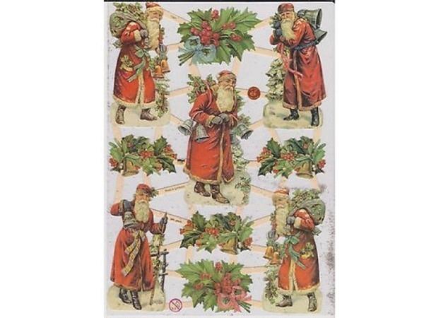 Aufkleber Glanzbilder Weihnachtsmann, im grossen Schlitten