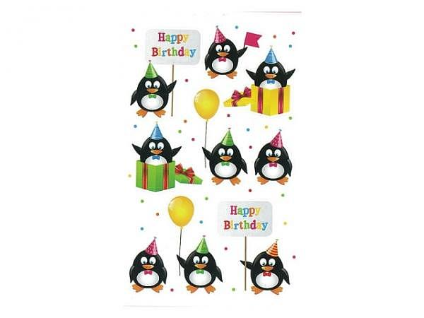 Aufkleber bsb Deco Sticker Happy Birthday Pinguine