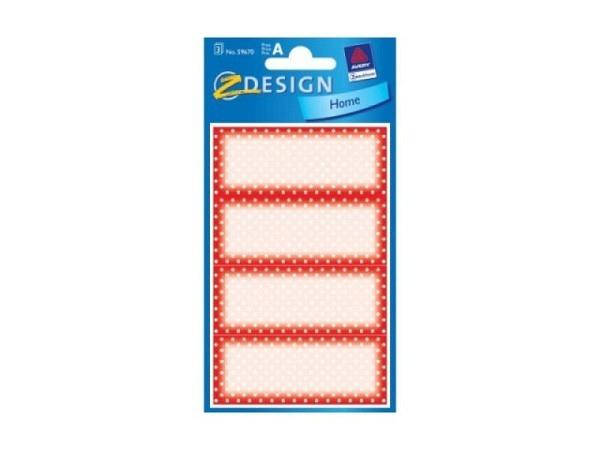 Aufkleber Zweckform Home, roter Rahmen mit weissen Punkten