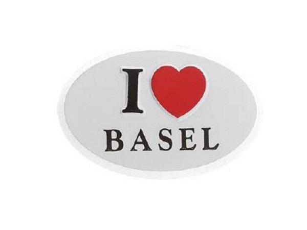 Aufkleber I Love Basel, weisser runder Aufkleber mit Spruch