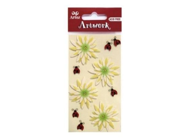 Aufkleber Artoz Artwork Blumen gross und Marienkäfer, 4 Stück