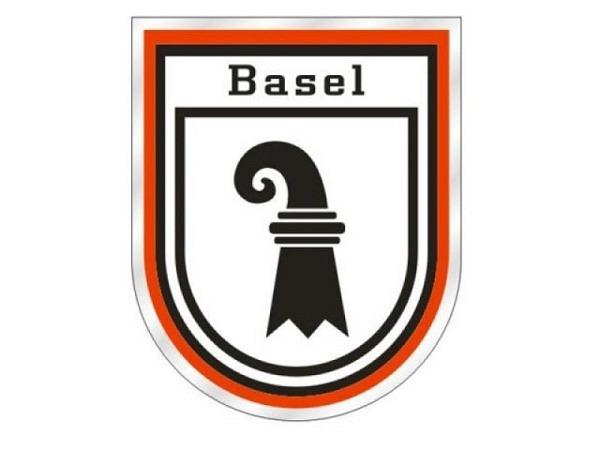 Aufkleber Wappen Basel mit Schriftzug und rotem Rand