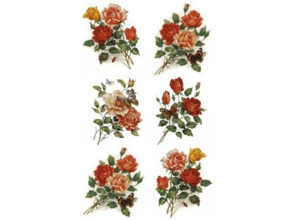Aufkleber bsb Deco Sticker Rosenstrauss mit Schmetterling