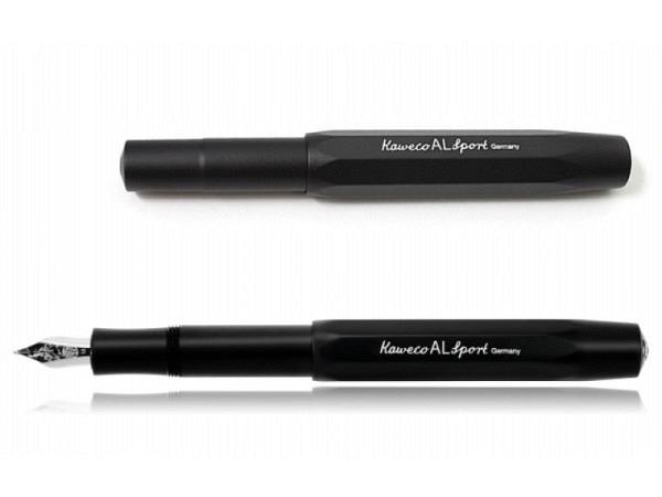 Füllfeder Kaweco AL Sport schwarz B, achtkantiges Aluminium