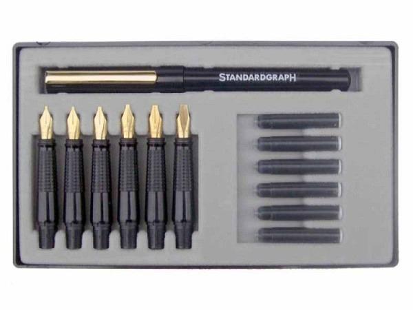 Federhalter Standardgraph Luxus-Set mit 6 Federaufsätzen