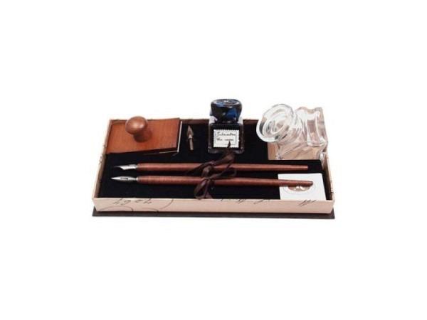 Federhalterset Rubinato Set mit 2 Holz-Federhalter, 3 Federn
