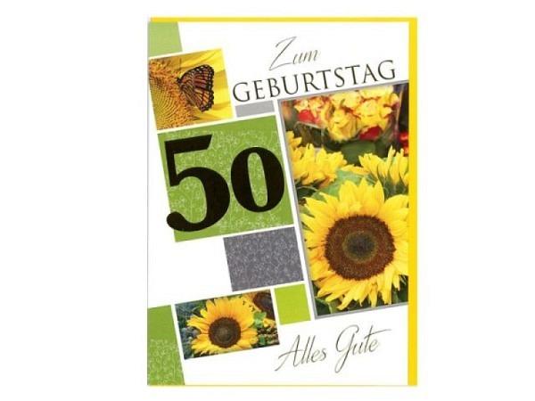 Geburtstagskarte Borer Zahlengeburtstag 50 Sonnenblumen