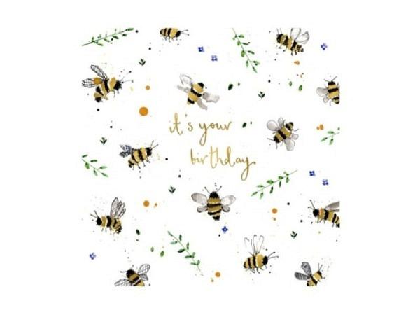 Geburtstagskarte Louise Mulgrew Bienenschwarm 15x15cm