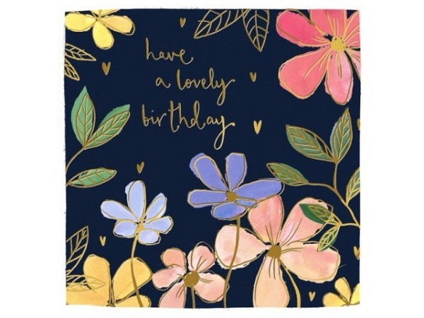 Geburtstagskarte Louise Mulgrew Blüten 15x15cm