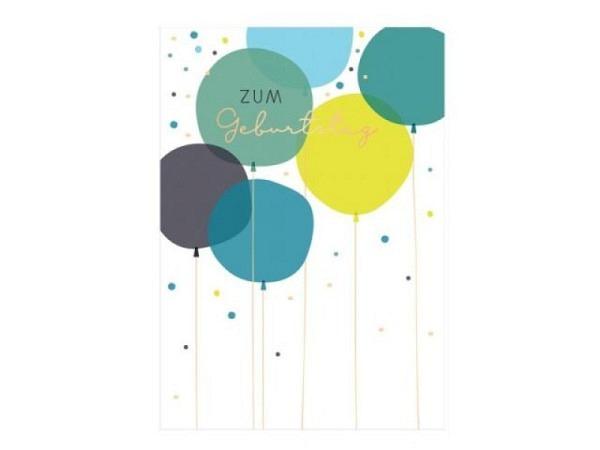 Geburtstagskarte Grafik Werkstatt einzigARTig 12x17cm, Doppelkarte Luftballons