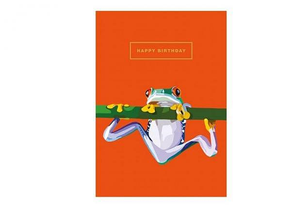 Geburtstagskarte Cart Chameleon 15x15cm, quadratische Doppelkarte