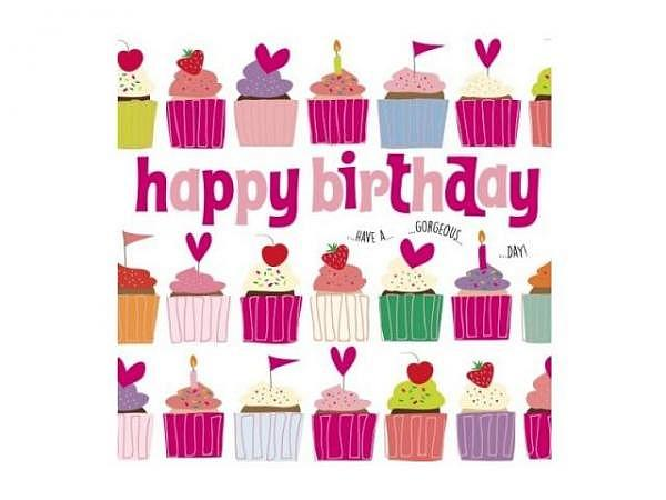 Geburtstagskarte Wendy Jones Cupcake 13x13cm