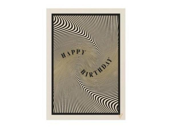 Geburtstagskarte Theartfile Vertigo Welle schwarz 12x17cm