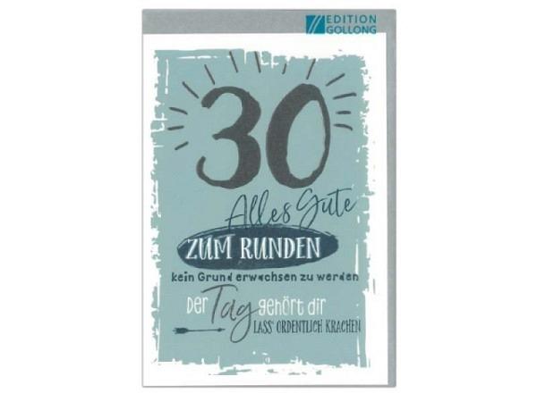 Geburtstagskarte Gollong Zahlengeburtstag 30 Alles Gute zu Runden
