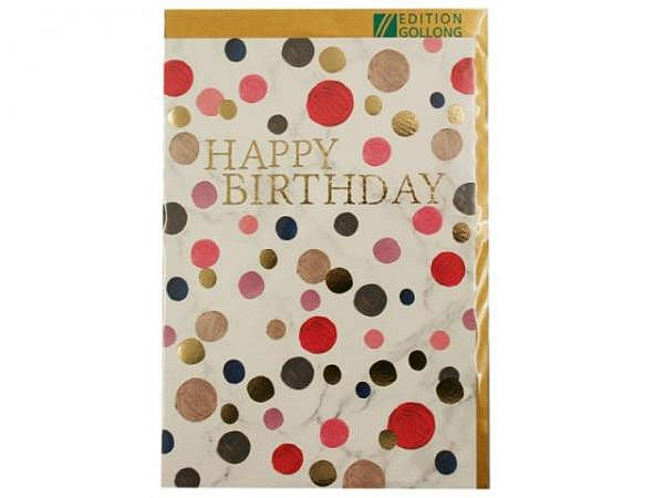 Geburtstagskarte Gollong Doppelkarte zum Geburtstag bedruckt mit Marmor Motiv und farbige Punkte, mit Text Happy Birthday, ohne Einlageblatt