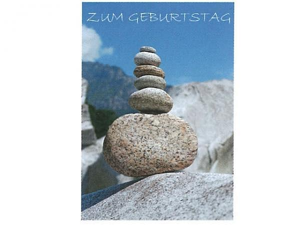 Geburtstagskarte Art Bula 12,2x17,5cm, Steinpyramide