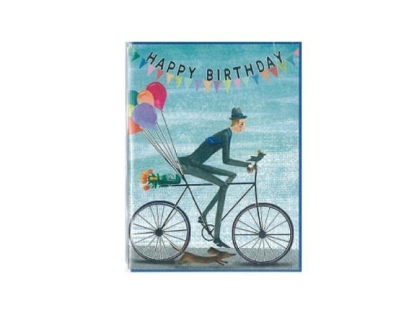 Geburtstagskarte Gollong 6x8cm Mann auf Fahrrad