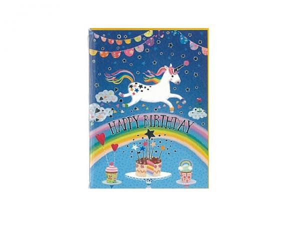 Geburtstagskarte Gollong 6x8cm Einhorn