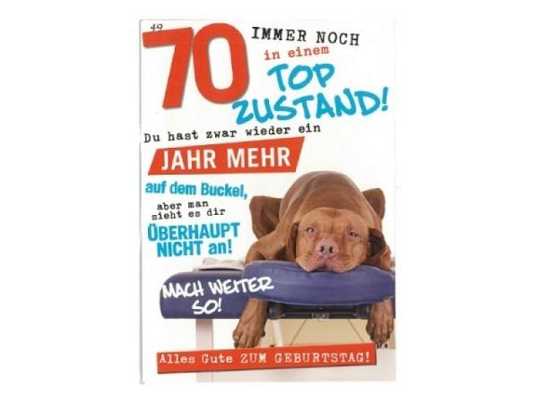 Geburtstagskarte AvanCarte Animals 70 Hund auf Massagestuhl