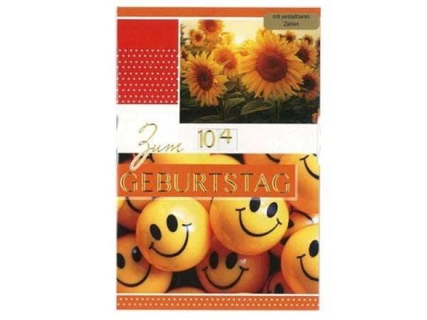 Geburtstagskarte Borer Drehzahl Smiley und Sonneblumen