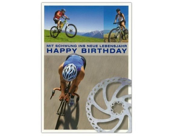 Geburtstagskarte ABC Fahrradfahrer 11,5x17cm