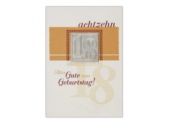Geburtstagskarte Avan Carte Glamour 18 achtzehn 11,5x16,5cm
