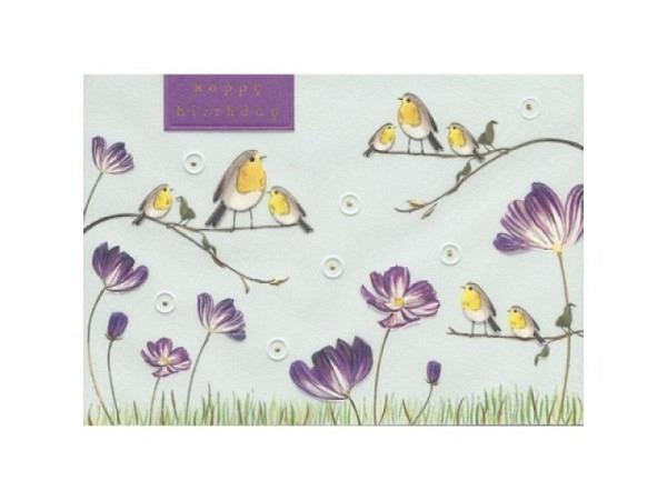 Postkarte Turnowsky 10,5x14,8cm Happy Birthday mit lustigem Walfisch