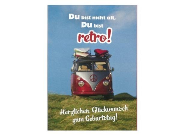 Geburtstagskarte Hartung VW-Bus mit Surfbrettern