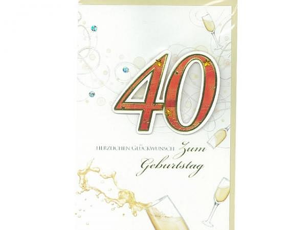 Geburtstagskarte 40 Bobo Card, 12x17cm Champagnergläser