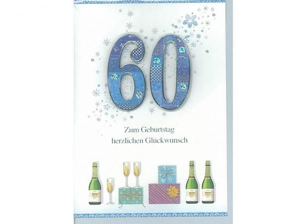 Geburtstagskarte 60 Bobo Card, 12x17cm, Champagner