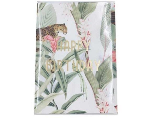 Geburtstagskarte Creative Lab Amsterdam Jungle 12x17,5cm, weisse Doppelkarte, bedruckt mit Gepard und Blumen