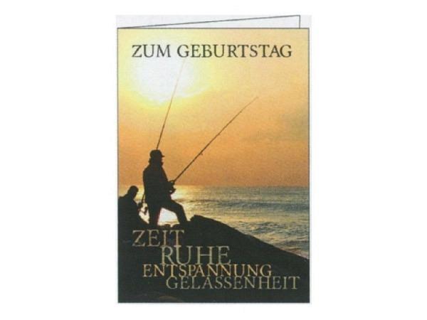Geburtstagskarte Gollong Fischer im Sonnenaufgang