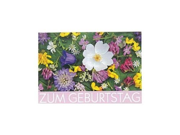 Geburtstagskarte Art Bula 12,2x17,5cm verschiedene Blüten