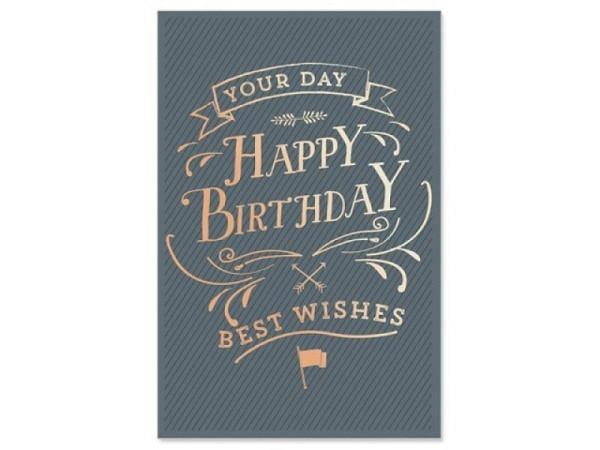 Geburtstagskarte Artebene blaue Doppelkarte