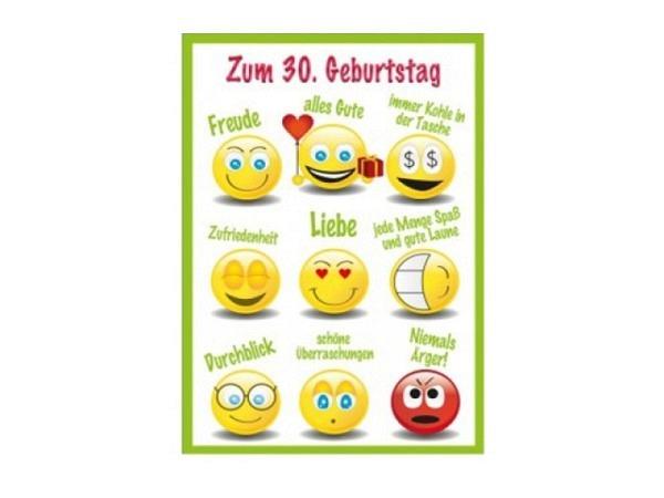 Geburtstagskarte AvanCarte 30. Geburtstag Smiley 12,5x17cm