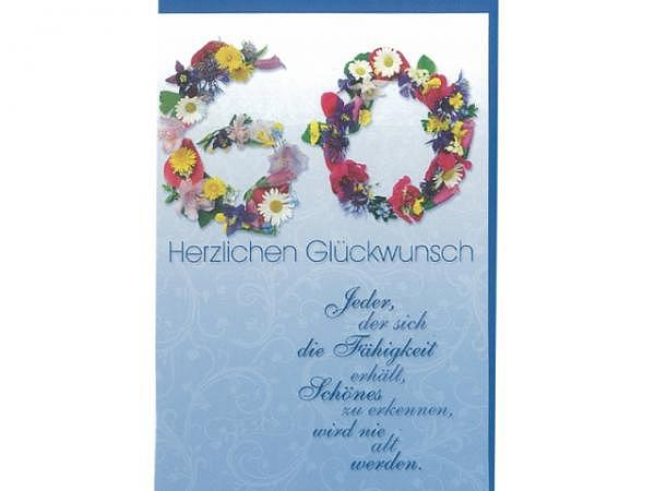 Geburtstagskarte 60 Gollong Blüten, 12x17,1cm, hellblau