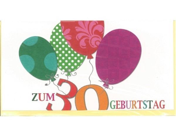 Geburtstagskarte 30 Modern Art Ballone 22,1x11,5cm