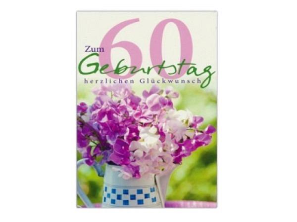Geburtstagskarte AvanCarte 60. Geburtstag Blumenstrauss in Vase 12,5x17cm