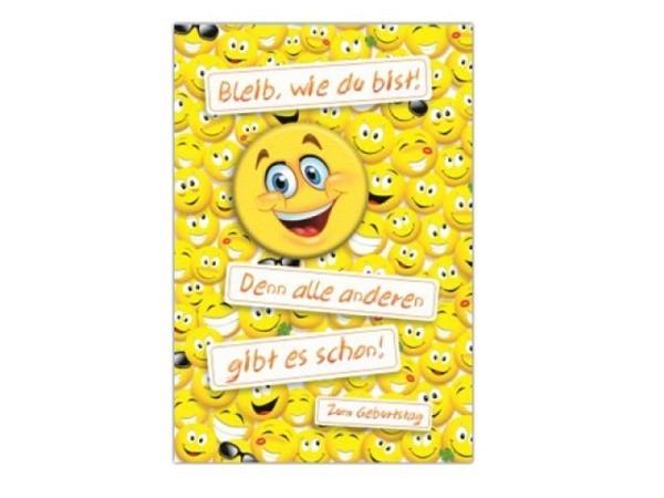 Geburtstagskarte AvanTop Smiley mit Button 12,5x17cm