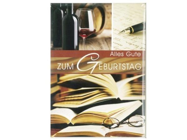 Gerburtstagskarte Gollong A4 Wein, Buch, Brille, 21x29,7cm