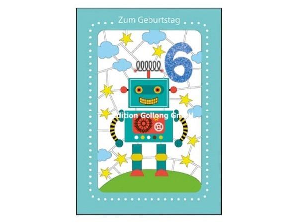 Geburtstagskarte Gollong Zahlengeburtstag 6 Roboter 12,5x18,5cm