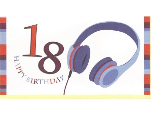 Geburtstagskarte 18 Modern Art Kopfhörer 22,1x11,5cm