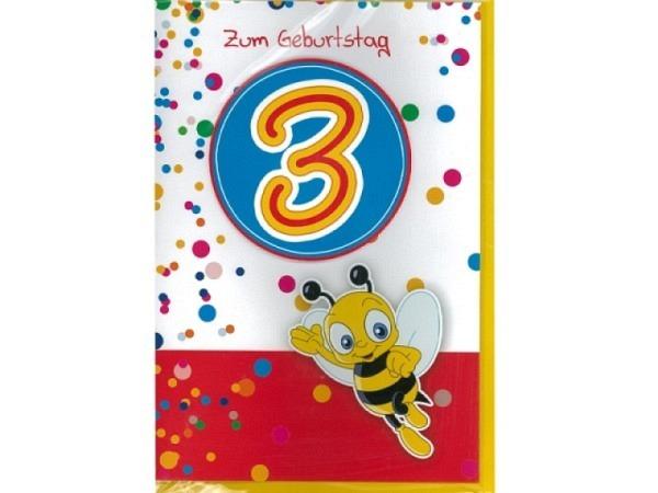 Geburtstagskarte 3 AvanCarte Biene 11,6x16,6cm